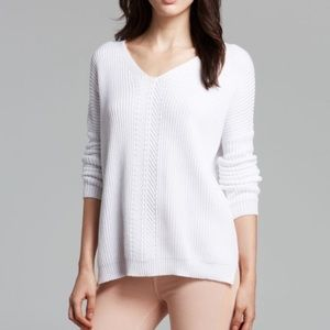 Vince Directional V Neck White Ribbed Sweater XS